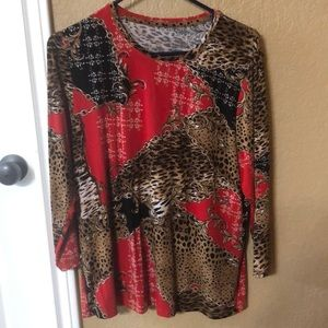 Tops - Multi pattern 3/4 sleeve blouse